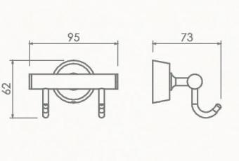 Kpючoк двойной для полотенец Welle (хром)