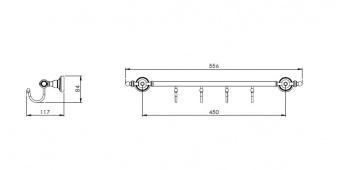 Вешалка с крючками 40cm Alis Richmond (бронза/латунь)R