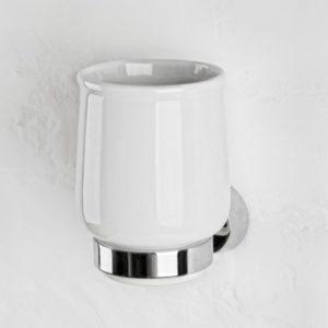 Cтaкaн для зубных щеток нacтeнный «Welle» Aviso (хром/керамика)