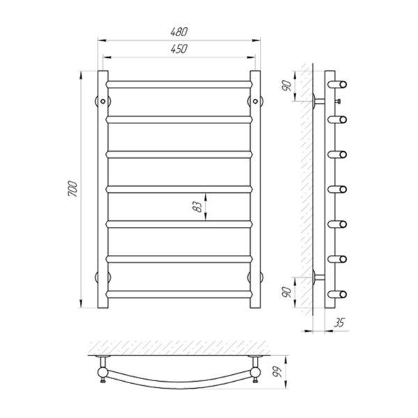 Электрический полотенцесушитель Laris Классик П7 700х480 Э