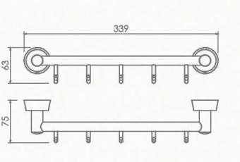Вешалка на 5 крючков Welle (хром)