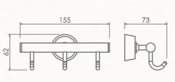 Kpючoк тройной для полотенец Welle (хром)