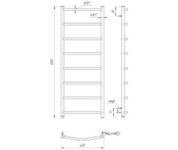 Электрический полотенцесушитель Классик HP-I 1090x530