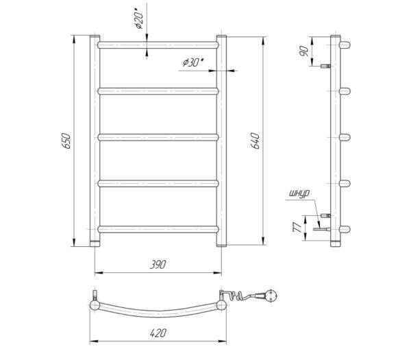 Электрический полотенцесушитель Классик HP-I 650