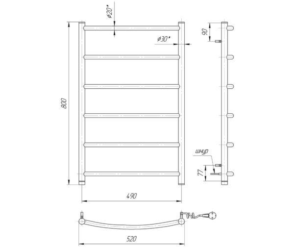 Электрический полотенцесушитель Классик HP-I 800