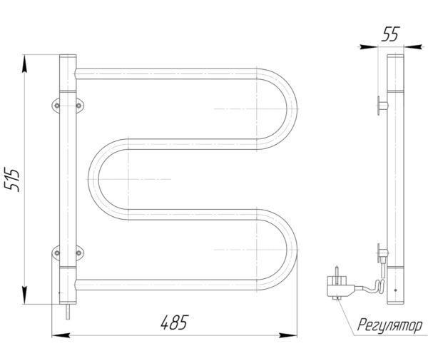 Электрический полотенцесушитель Лассо-I 515x485