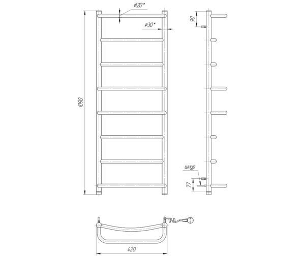 Электрический полотенцесушитель Люкс HP-I 1090x530