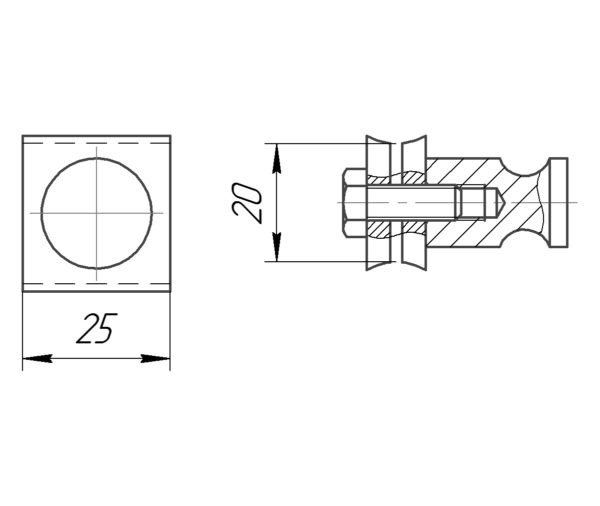 Крючок межреберный 20x25 мм