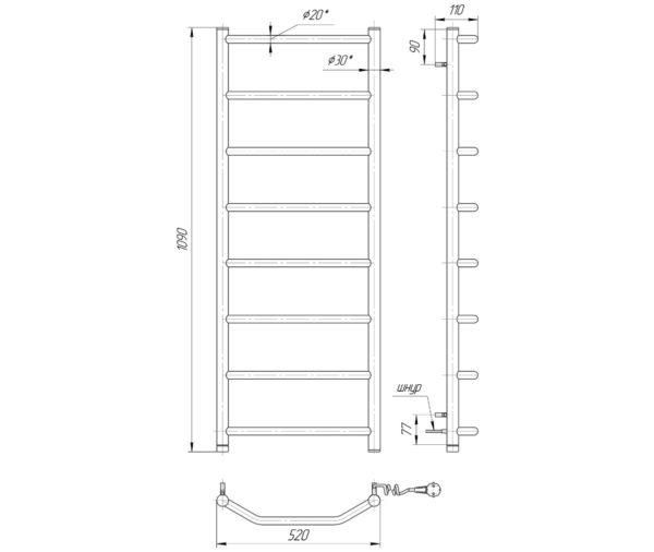 Электрический полотенцесушитель Трапеция HP-I 1090x530